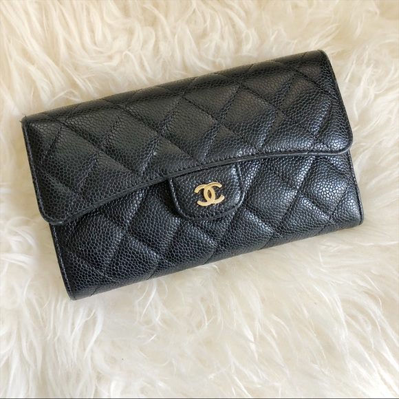 ef936a582f13 CHANEL Handbags - Chanel Caviar Quilted Large Flap Wallet Black